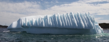 Ridges carved into an iceberg in Twillingate, Newfoundland, June 3, 2016. Photographed from a boat tour operated by Prime Berth's Captain Dave. Credit: Therese Kehler