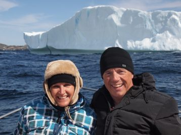 Iceberg tour in Twillingate, Newfoundland. Therese's outfit was courtesy of Captain Dave, who evidently did not think she was going to be warm enough. Credit: Dave Boyd