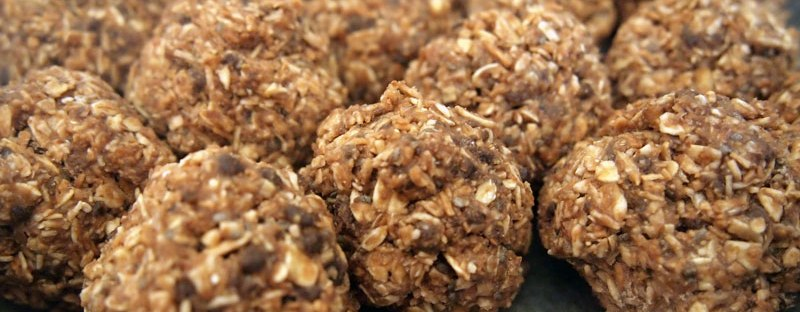 Energy Bites feature oats, coconut, carob chips and almond butter