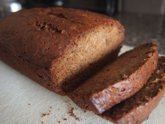 Spiced banana loaf with bourbon and Oaxacan chocolate.
