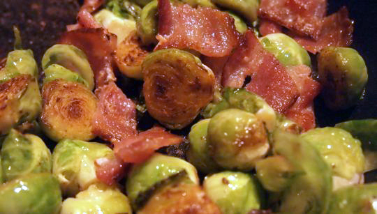 Brussels sprouts and bacon, ready to eat