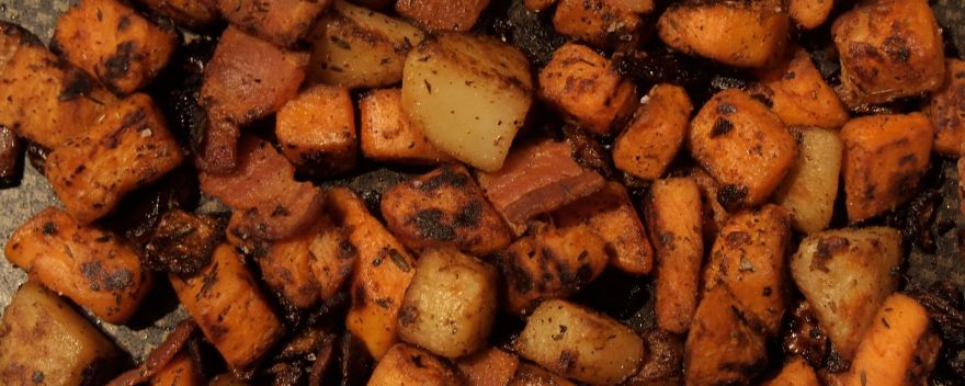 Potato hash made with sweet and red potatoes