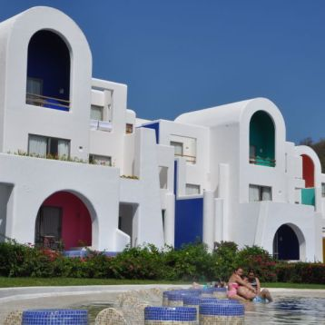 Curves, cubes and colours in the Mediterranean-inspired architecture of the Camino Real Zaashila all-inclusive resort in Huatulco, Mexico. Credit, Dan Barnes, December 2016