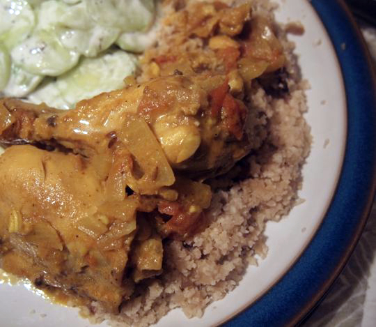 Curried chicken and tomato casserole with garam masala
