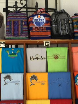 Catering to Canadians? Souvenir shops in Tangolunda, La Crucecita and Santa Cruz featured logoed items from the Edmonton Oilers, Saskatchewan Roughriders and more. Credit: Therese Kehler, December 2016 a