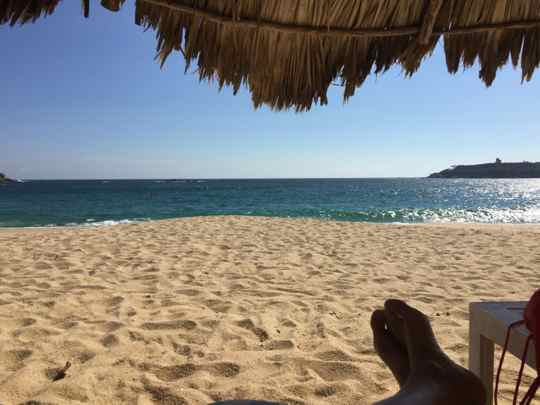 Just another day in paradise, as seen from under a shady palapa at the Camino Real Zaashila. Credit: Therese Kehler