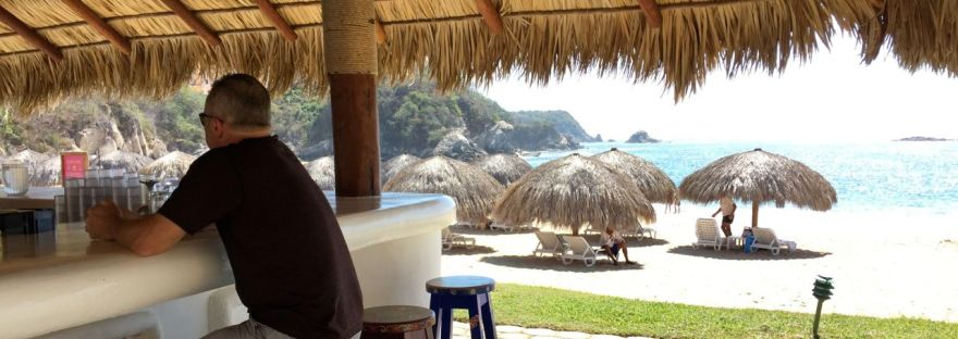 Plenty of palapas, a sparkling sea and weather that hovered in the low-30s every day. Vacation heaven at the Camino Real Zaashila in Huatulco, Mexico. Credit: Therese Kehler, December 2016
