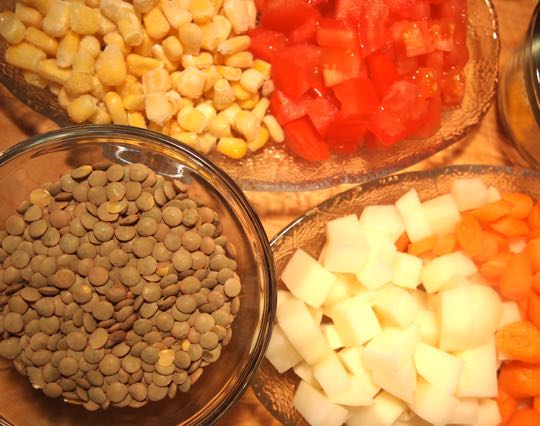Ingredients for curried lentil vegetable wraps