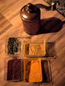 The spices and grinder remaining in our