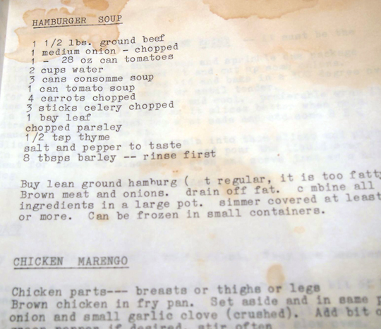 Recipe for hamburger soup in the well-used, well-loved cookbook made by mom Margaret Kehler