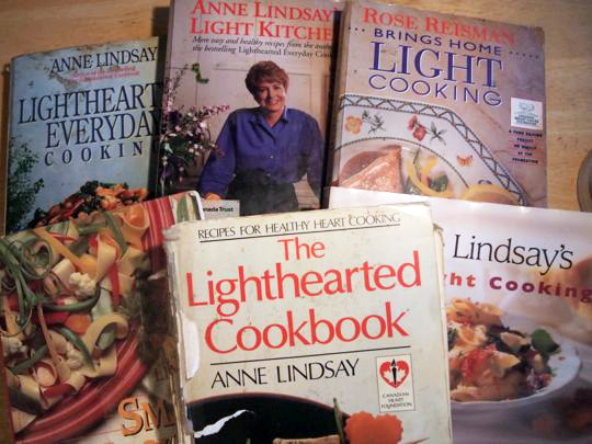 Some of my collection of well-used cookbooks from Anne Lindsay and fellow Canadian Rose Reisman