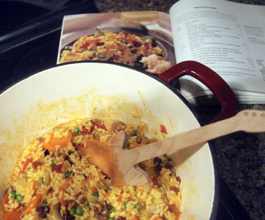 Vegetarian paella, modified to include shrimp. Recipe came from a 1998 Anne Lindsay cookbook.