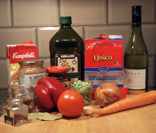 Some of the ingredients for vegetarian paella, which I modified to include shrimp.