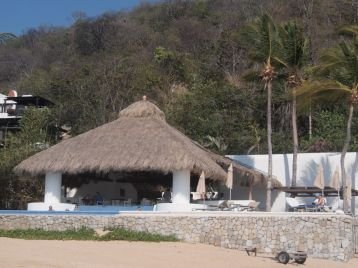 During the day, this outdoor restaurant with a small pool operated as the Club de Playa Zaashila (the Huatulco Tacos were out-of-this-world good.) Several evenings each week, it is transformed into the elegant Azul Profundo. Ocean-side dining at its finest. Credit: Therese Kehler, December 2016