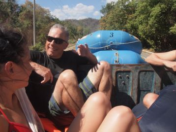 In a moment of unexpected authenticity, the five tourists were transported back to their hotels in the back of a pickup. Credit: Therese Kehler, December 2016