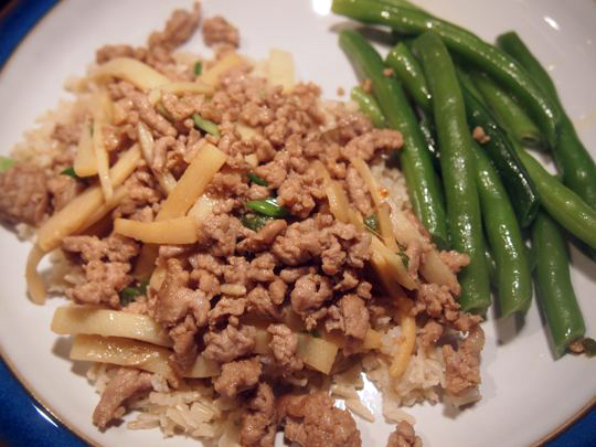 Bamboo shoots with ground pork
