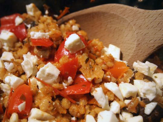 A side-dish with substance: Barley with Sauteed Vegetables and Feta Cheese