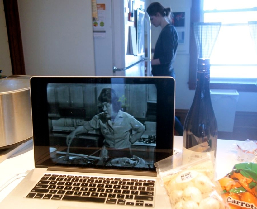 Julia Child was with us in digital spirit while we made her Boeuf Bourguignon