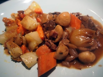 Julia Child's Boeuf Bourguignon, served with a medley of roasted potato, sweet potato and carrots.
