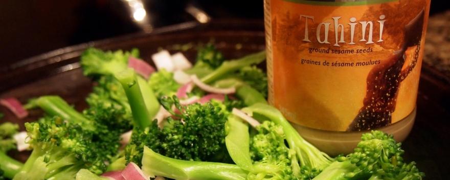 Roasted Broccoli Salad with Tahini Dressing