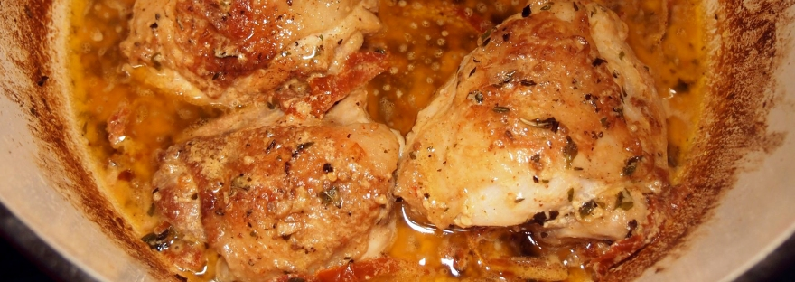 Chicken thighs with sun-dried tomato cream sauce