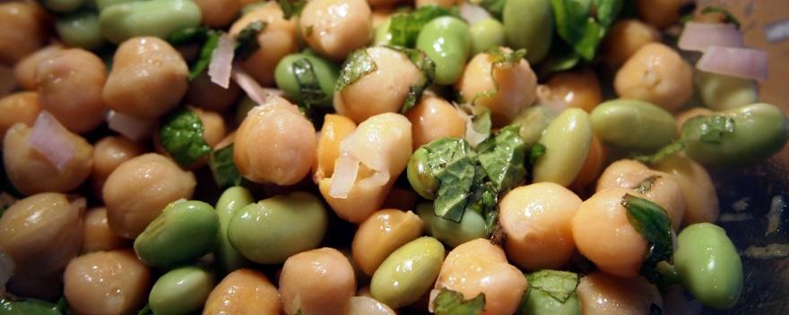 Chickpea and edamame bean salad
