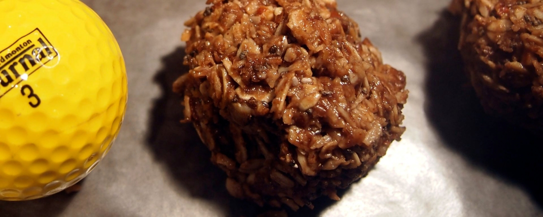 Golf-ball sized energy bites roll together oats, chocolate, coconut, honey, chia and flax.