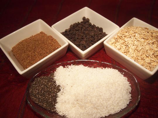 Ingredients used to make energy bites include coconut, chia seeds, ground flax, carob or chocolate chips and rolls oats.
