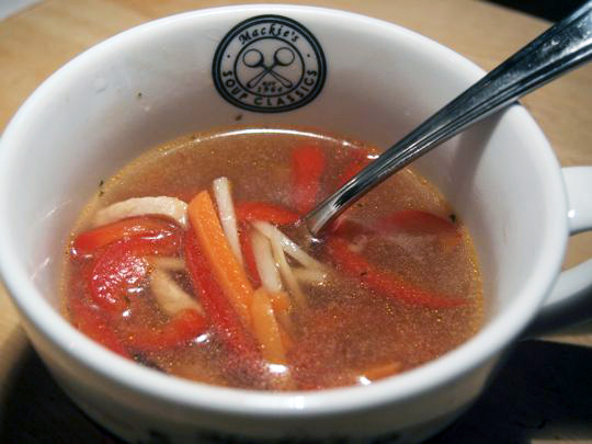 Hot-and-sour soup: warm, spicy, gets the nose running