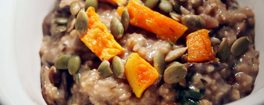 Oatsotto with sweet potato and mushrooms