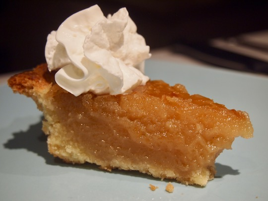 Sugar Pie with whipped cream made using the Ottawa Cooks recipe from Wolf and Ada's diner