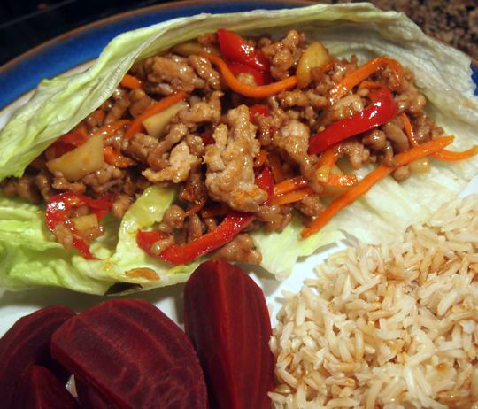 Hoisin sauce gives some sweetness to these ground pork lettuce wraps