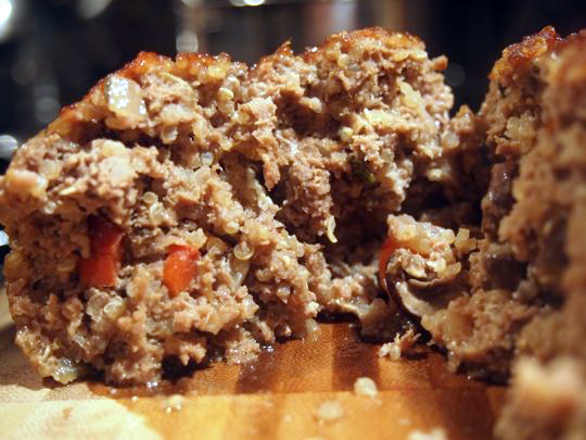 Close-up photo of meatloaf made with quinoa