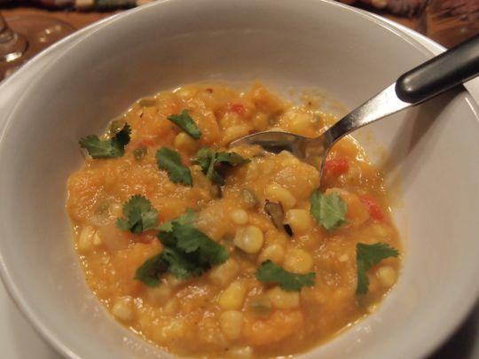 A bowl of sweet potato and corn chowder
