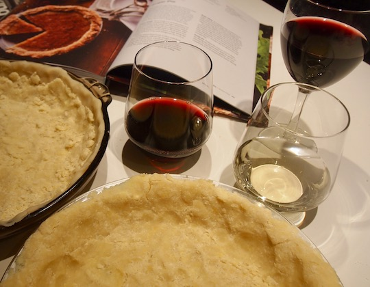 A little wine, a little conversation and a decision to press the pie dough into the plate, rather than roll it out