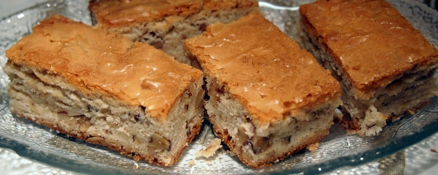 Blondies are like brownies but made with white chocolate.