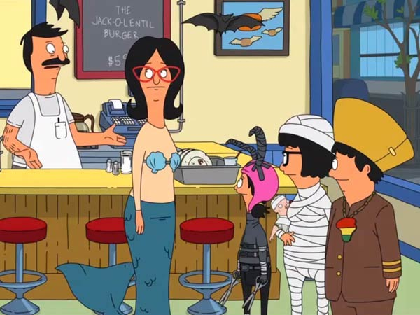 A scene from Full Bars, the Bob's Burger episode featuring the Jack-O-Lentil Burger.