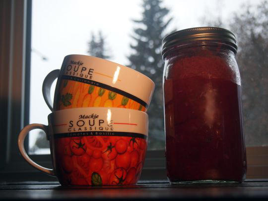 Borscht soup: Make it in the fall and freeze it for later.