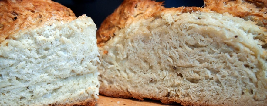 A loaf of caraway seed soda bread