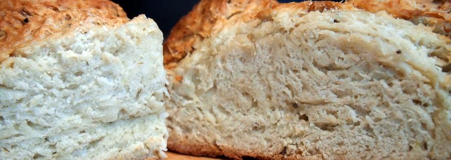 A loaf of caraway seed soda bread