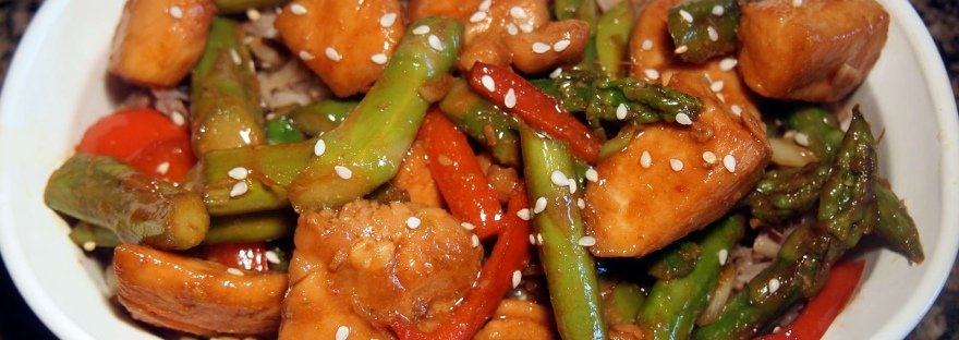 "Stir-fried Chicken with Asparagus: a quick, easy dinner when all you really want to say is ""Cluck it."""