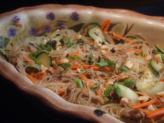 Thai noodle salad, with carrots, cucumber, pork and longkou vermicelli.