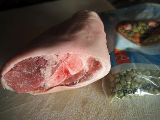 Pork are cheap and a bit grisly to work with, but add incredible flavour to a split pea soup.