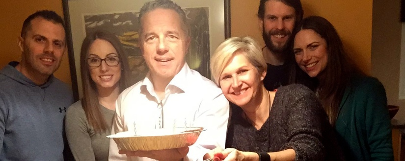 The birthday party. From left, Simon Hannah, Dan and his birthday pie, Therese, Jake and Marissa
