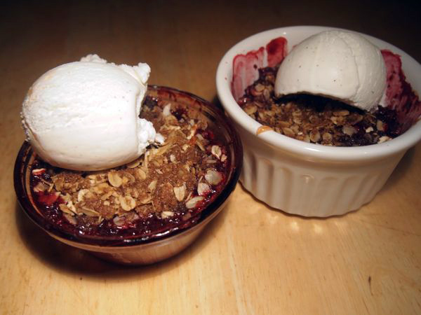 Personal pie? Why thank you. Individual Berry-Apple-Ginger Crumbles, with ice cream