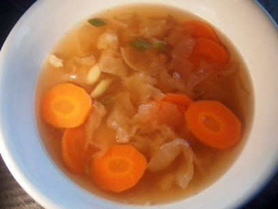 White fungus and chicken soup: the mushroom is almost tasteless, with a bit of an al dente texture.