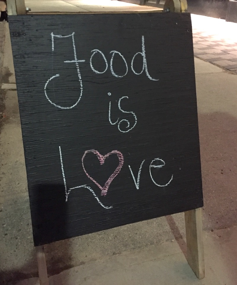 Food is love: The sign outside of Chartier Restaurant in Beaumont on the night we celebrated the end of #100daysofcooking