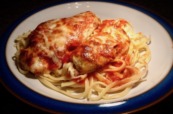 Doesn't matter how you say it, Chicken Parmesan is a great dinner for a date — or a pre-game carbo load.