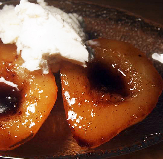 Pears baked in a vanilla-bourbon sauce that caramelizes into perfection.