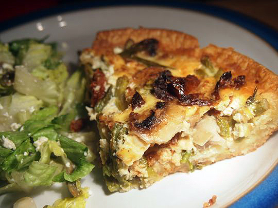 With salad, this Asparagus and Sun-Dried Tomato Quiche is good for brunch, lunch or dinner.